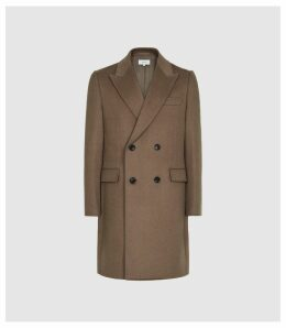 Reiss Milton - Wool Blend Double Breasted Coat in Camel, Mens, Size XXL