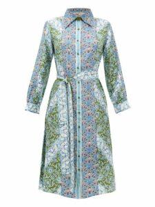 D'ascoli - Theodora Printed Silk Midi Shirtdress - Womens - Blue Multi