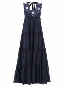 Innika Choo - Che Pas Floral Embroidered Tiered Cotton Dress - Womens - Navy