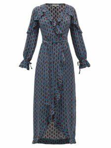 D'ascoli - Mileta Ruffle Trimmed Printed Silk Wrap Dress - Womens - Blue