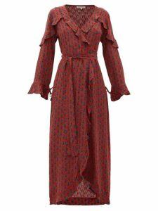 D'ascoli - Mileta Ruffle Trimmed Printed Silk Wrap Dress - Womens - Red