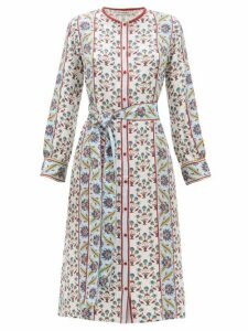 D'ascoli - Smyrna Thistle Print Silk Faille Shirtdress - Womens - White