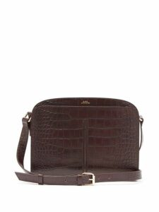 A.p.c. - Aurelie Crocodile Effect Leather Cross Body Bag - Womens - Burgundy