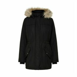 Mid-Long Parka with Faux Fur Hood and Pockets