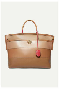 Burberry - Smooth And Textured-leather Tote - Brown