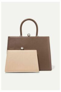 Ratio et Motus - Twin Frame Two-tone Leather Tote - Brown