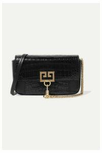 Givenchy - Pocket Croc-effect And Smooth Leather Shoulder Bag - Black