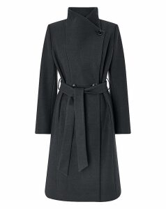 Monsoon Rita Wrap Collar Coat Long