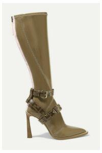 Fendi - Logo-print Coated Canvas-trimmed Glossed-neoprene Knee Boots - Brown