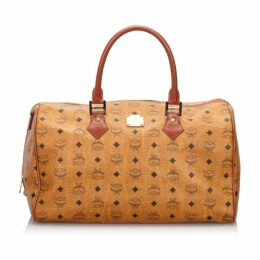 MCM Brown Visetos Leather Boston Bag