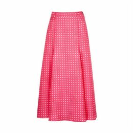 Walk Of Shame Polka-dot Print Silk Midi Skirt