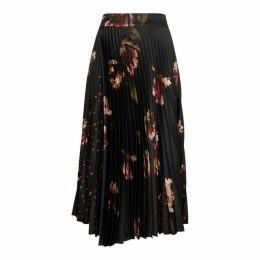 Vince Printed Pleated Satin Midi Skirt
