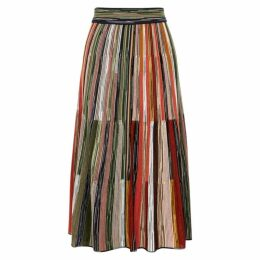 M Missoni Striped Fine-knit Wool-blend Midi Skirt