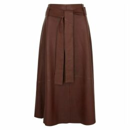 Vince Brown Leather Midi Skirt