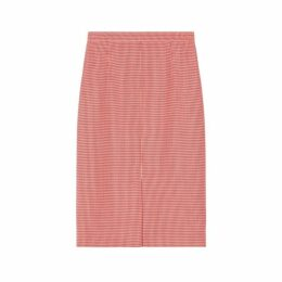 Burberry Two-tone Houndstooth Check Wool Pencil Skirt