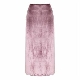 Vince Pink Velvet Midi Skirt