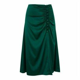 Veronica Beard Minetta Green Stretch-silk Midi Skirt