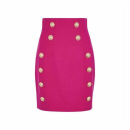 Balmain Pink Button-embellished Wool Mini Skirt