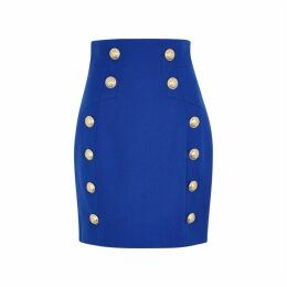 Balmain Blue Button-embellished Wool Mini Skirt
