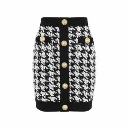 Balmain Houndstooth Bouclé-knit Mini Skirt