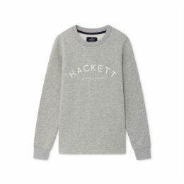 Hackett Logo Detail Cotton Blend Crew Neck Sweater