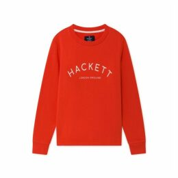 Hackett Logo Detail Cotton Blend Crew Neck Sweater