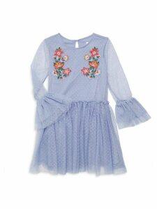 Little Girl's & Girl's Embroidered Mesh Dress