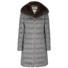 Herno Grey Quilted Silk-blend Coat