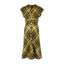 Proenza Schouler Yellow Checked Midi Dress