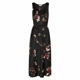 Vince Black Silk Floral Print Dress
