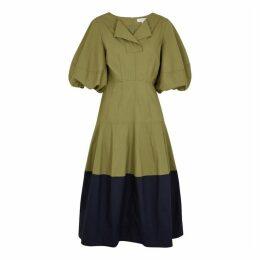 Lee Mathews Elsie Two-tone Poplin Midi Dress