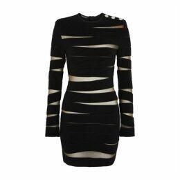 Balmain Black Stretch-knit Mini Dress