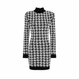 Balmain Houndstooth Bouclé-knit Mini Dress