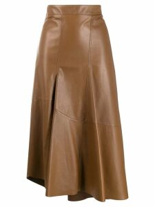 Brunello Cucinelli asymmetric midi skirt - Brown