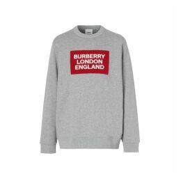 Burberry Logo Applique Cotton Sweatshirt