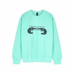 RAGYARD Mint Embroidered Cotton-blend Sweatshirt
