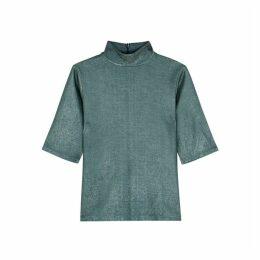 Filippa K Amber Teal Metallic-weave Top