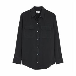 Equipment Slim Signature Navy Silk Shirt