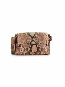 Embossed Python Leather Shoulder Bag