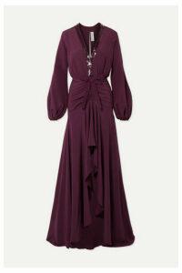 Silvia Tcherassi - Danitza Sequin-embellished Ruched Silk Crepe De Chine Gown - Grape
