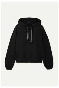 ATM Anthony Thomas Melillo - Satin-trimmed Cotton-blend Jersey Hoodie - Black