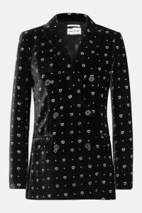 Paul & Joe - Double-breasted Glittered Velvet Blazer - Black