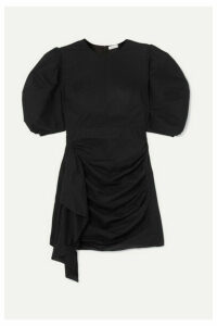 Rhode - Pia Ruched Cotton-voile Mini Dress - Black