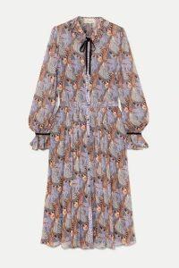 Temperley London - Maggie Velvet-trimmed Printed Georgette Midi Dress - Burgundy