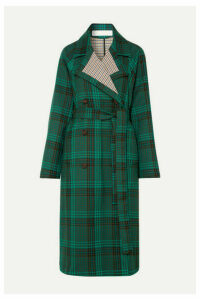 See By Chloé - Belted Double-breasted Checked Twill Coat - Green