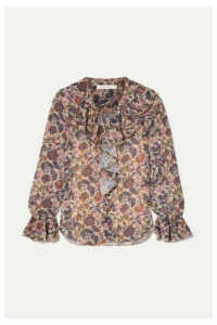 See By Chloé - Shirred Ruffled Floral-print Georgette Blouse - Ecru