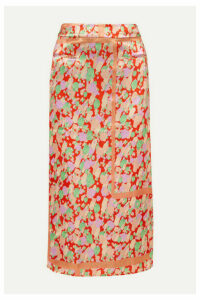 REJINA PYO - Mina Ruched Printed Satin Midi Skirt - Red