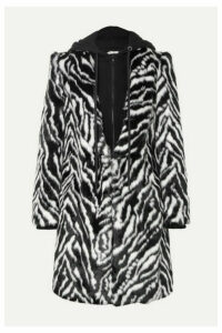 Alice + Olivia - Kylie Hooded Zebra-print Faux Fur Coat - Black