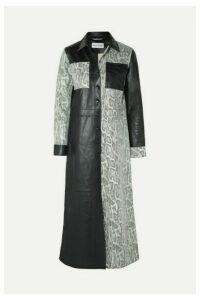 Stand Studio - Elizabeth Paneled Snake-effect Leather Midi Dress - Black