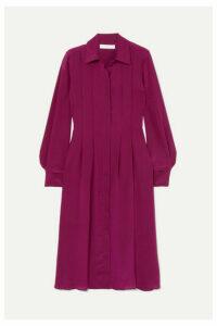 See By Chloé - Pintucked Silk Crepe De Chine Dress - Fuchsia